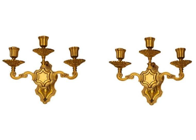 Pair Antique E.F. Caldwell Neoclassical Gilt Bronze Sconces