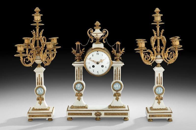 Antique Louis XVI Style Marble Bronze Clock Garniture