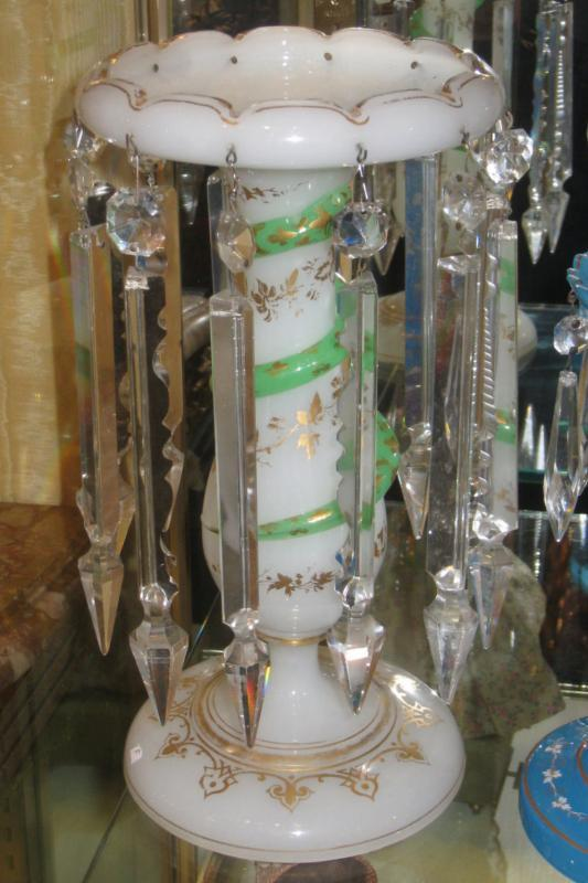 Pair Saint Louis Attributed Opaline Glass Luster Candleholders