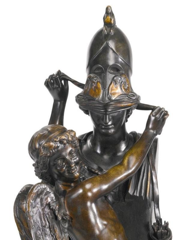 Athena and Eros Bronze Sculpture by Felix Sanzel (1829-1883)
