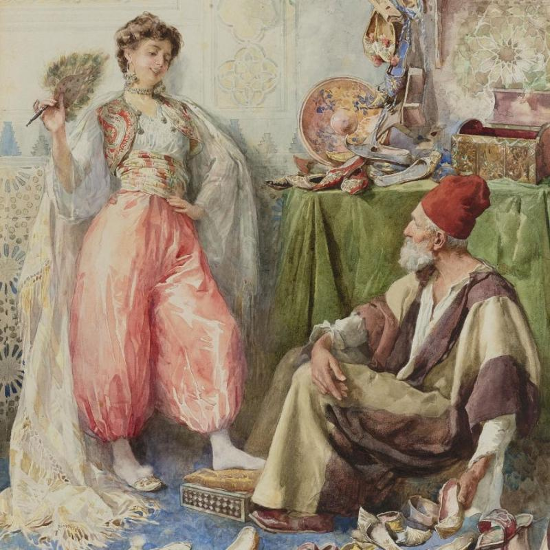 Amedeo Simonetti (Italy, 1874-1922) Orientalist Watercolor Painting