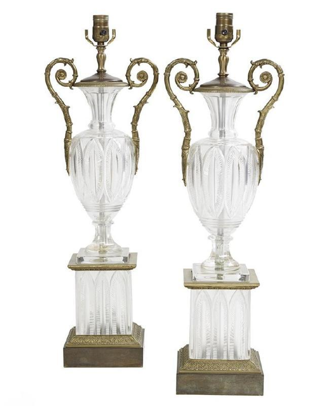 Pair Antique Bronze and Molded and Cut Crystal Table Lamps