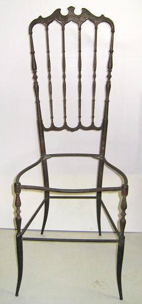 Set 6 Chiavari Italian Brass Tallback Dining Side Chairs