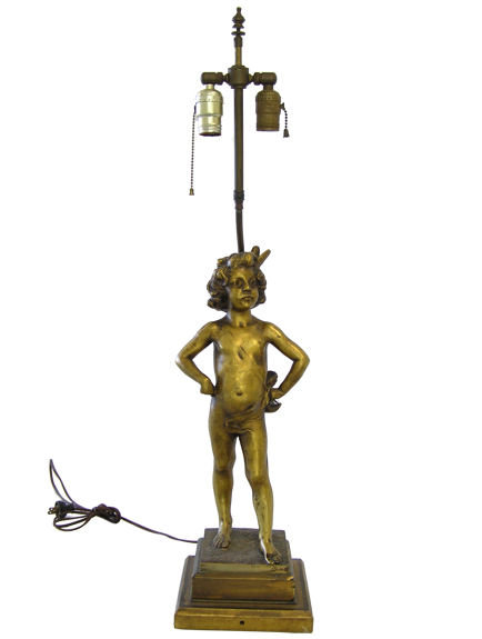 Dore Bronze Cupid Putti Table Lamp
