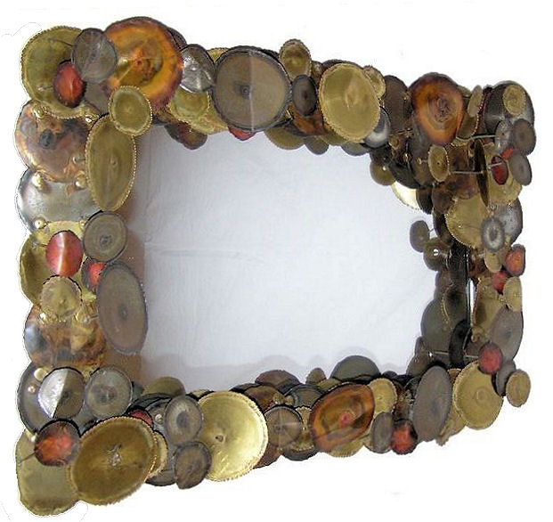 Curtis Jere Raindrops Style Mid-Century Modern Brass and Metal Mirror