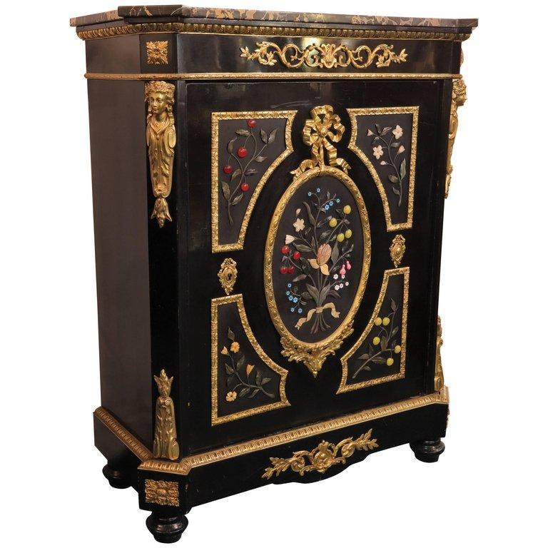 Antique French Napoleon III Ebonized Meuble d'Appui Cabinet