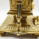 Antique Greek Revival French Bronze Champleve Mantel Clock Garniture