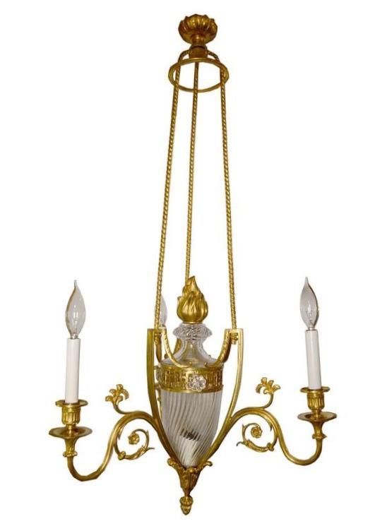 Louis XVI Style Bronze and Glass Chandelier Possibly by Baccarat