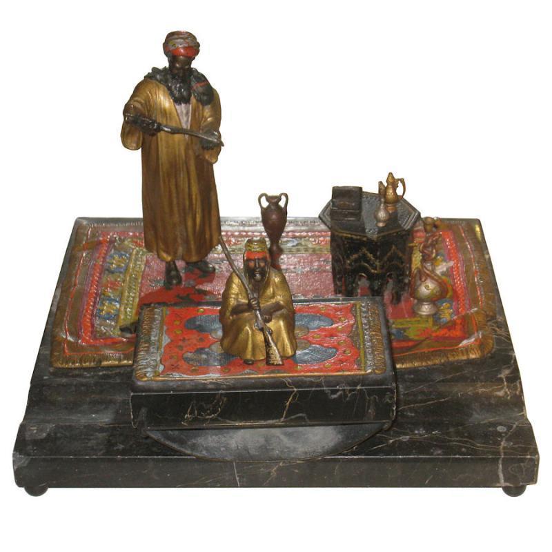 Anton Chotka Orientalist Austrian Bronze Desk Set with Inkwell and Blotter