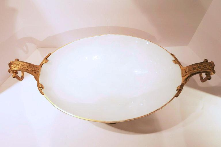 Antique Bronze Mounted Neoclassical Painted Opaline Glass Centerpiece