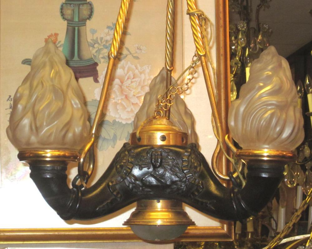 Antique Neoclassical Grand Tour Bronze Hanging Lamp Chandelier