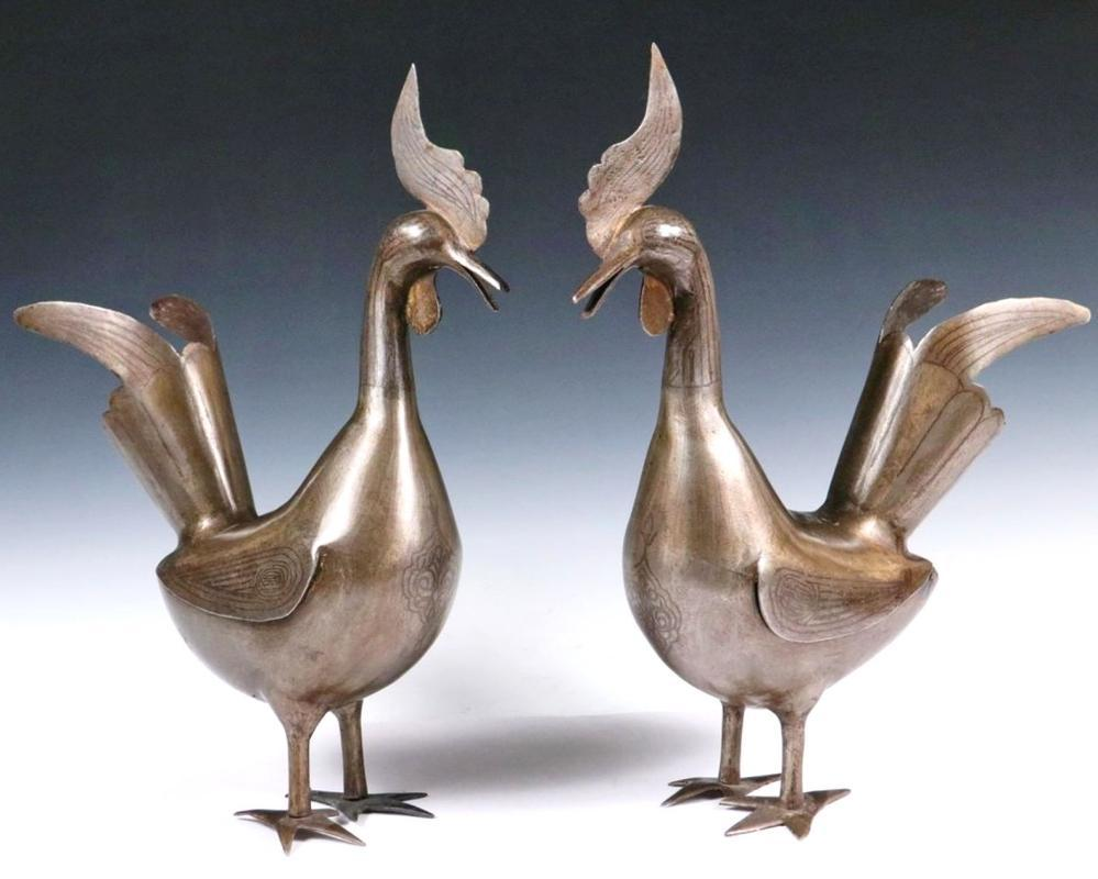 Pair Persian Damascened Silver Inlaid Steel Cockerels Roosters