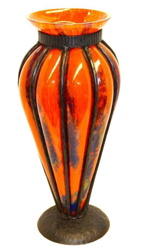 Art Deco Iron Mounted Blown-Out Glass Vase Possibly from Daum or Schneider