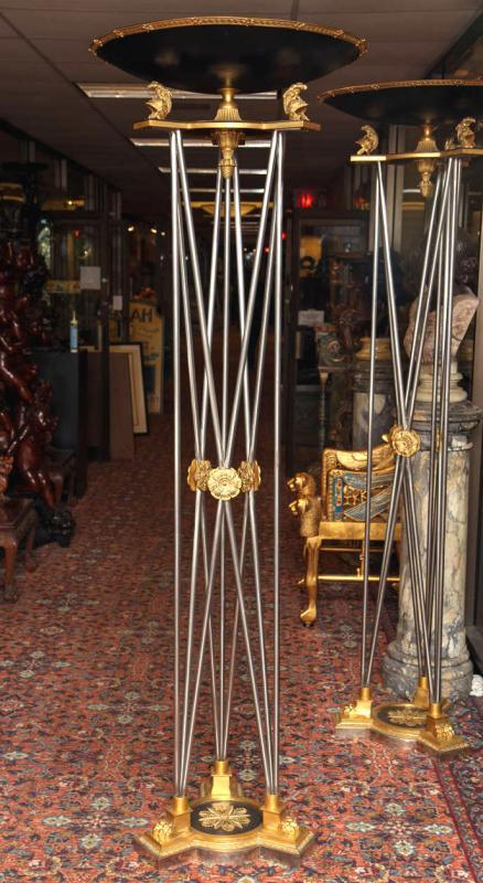 Pair Neoclassical Gilt Bronze Torchieres Floor Lamps