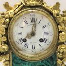 Henri Picard Louis XVI Style Malachite and Bronze Mantel Clock and Candelabra