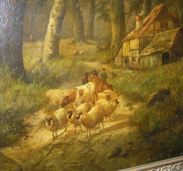Hendrik Pieter Koekkoek (1843-1890) Dutch Wooded Landscape Oil Painting