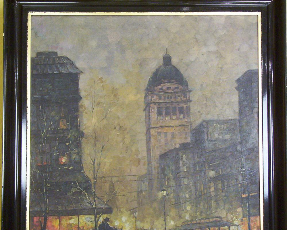 Vienna Evening Street Scene Cityscape  Oil Painting by Collins