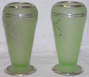 Pair Tiffin Rockwell Silver Overlay Vases