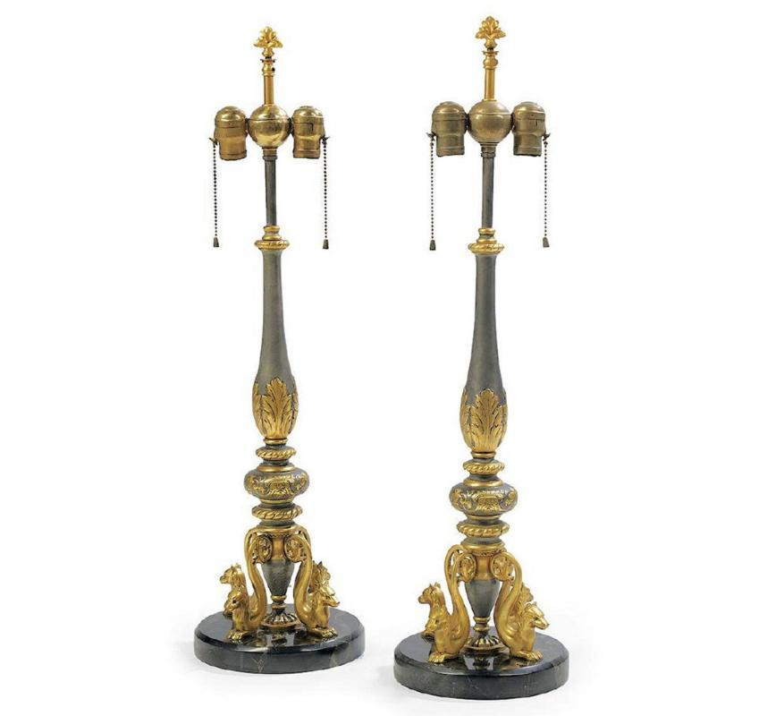 Pair Antique Gilt Metal & Marble Renaissance Revival E.F. Caldwell Table Lamps