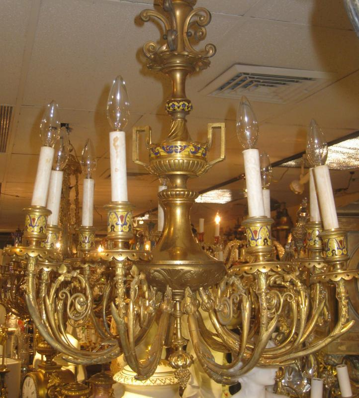 Rare Antique French Bronze and Champleve Enamel Chandelier