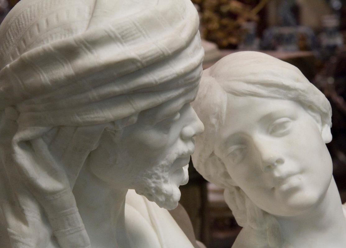 Shakespearean Italian Carrara Marble Statue of Othello and Desdemona
