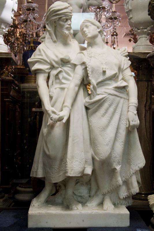 Othello and Desdemona Italian Carrara Marble Statue by Carados