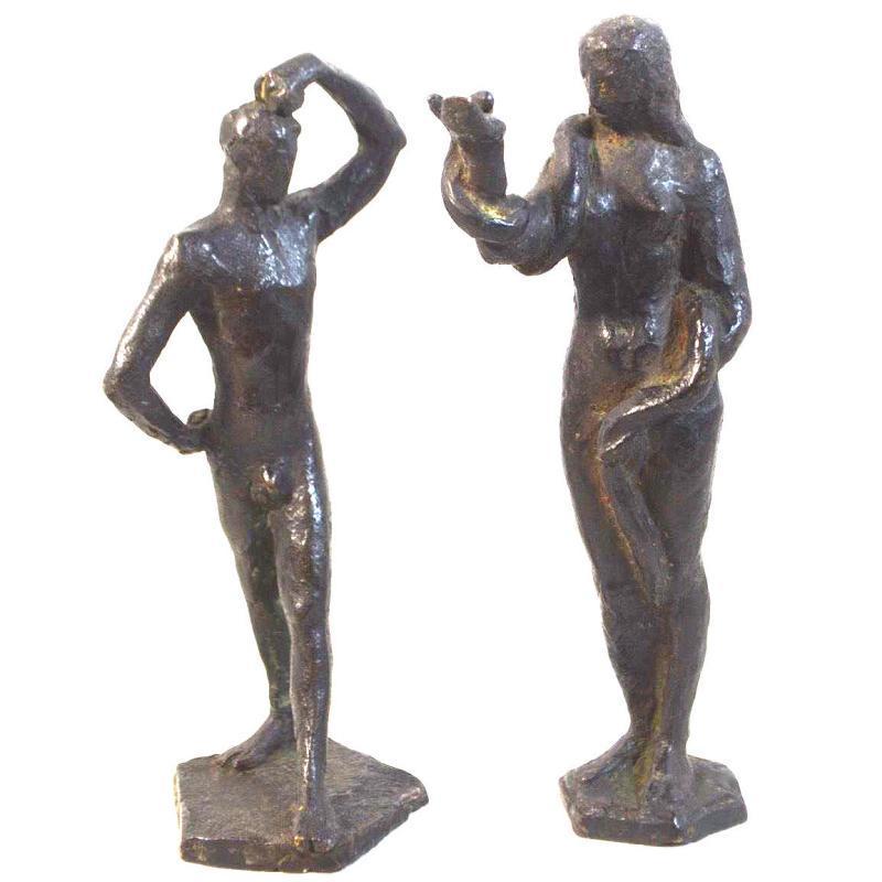 Adam and Eve Bronze Figurines by Wilhelm Hunt Diederich (1884-1953)