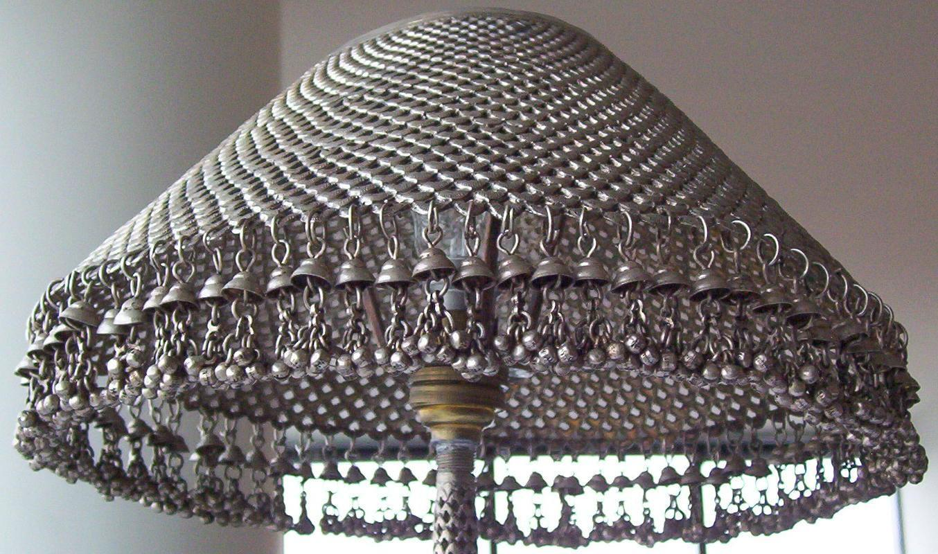 Indo-Persian Fish Form Silver Table Lamp