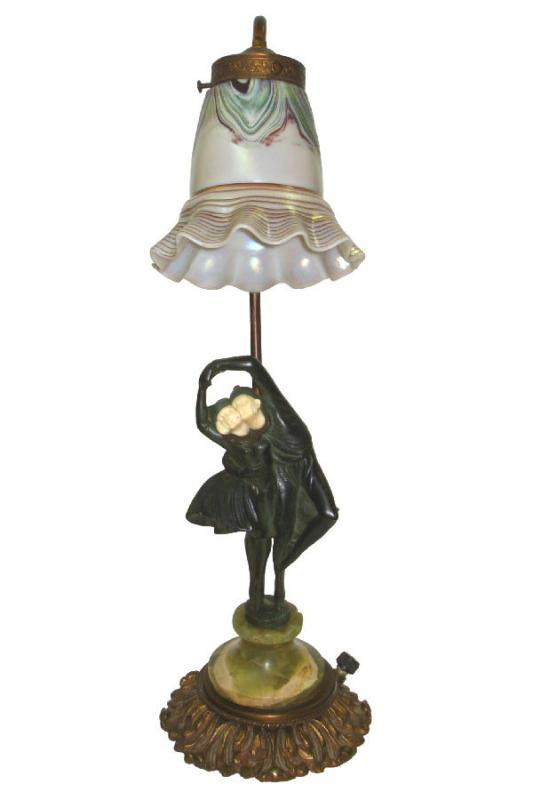 Peter Tereszczuk Art Deco Figurative Harlequin Bronze Lamp