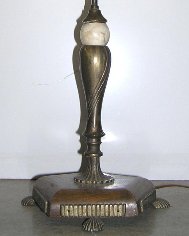 Modernist Art Deco Bronze Marble and Wooden Table Lamp