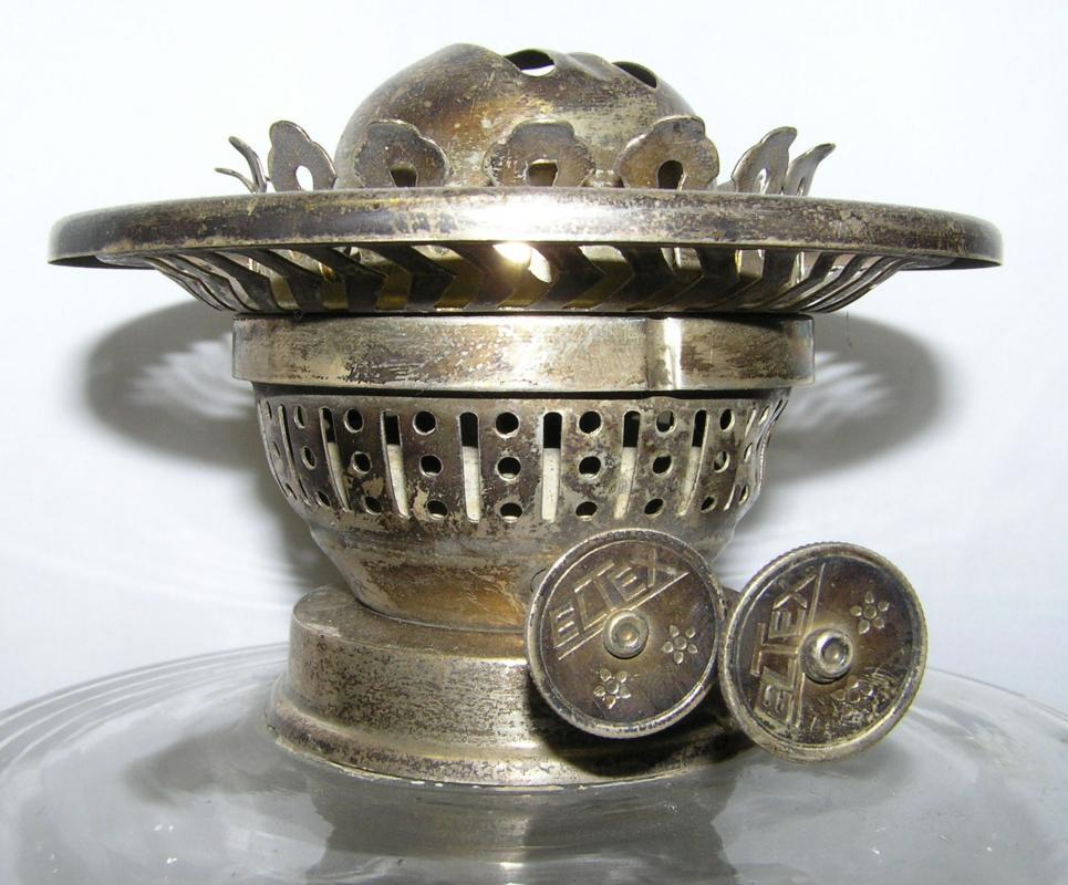 Antique English Silver Greek Corinthian Column Form Oil Lamp from Eltex of Worcester England