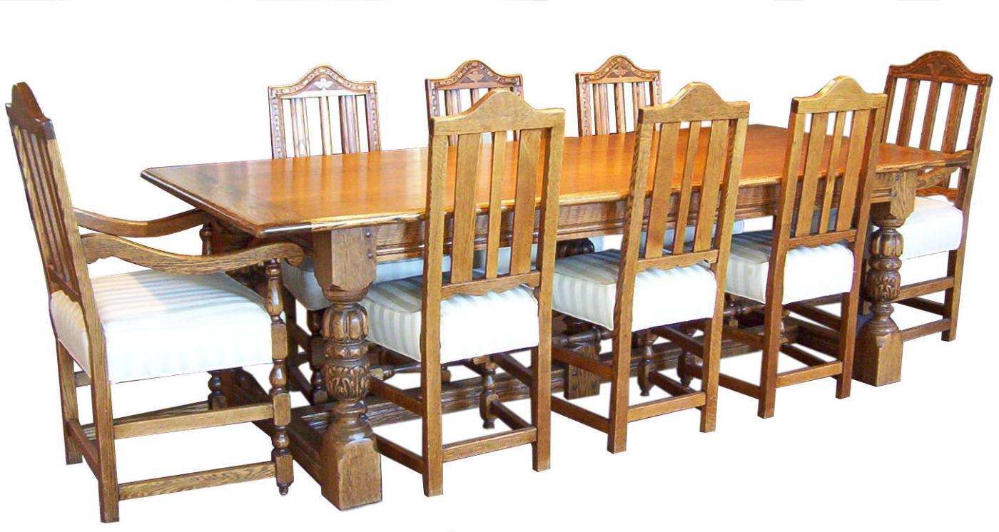 Remarkable Antique Colonial Revival Oak Dining Table And Chairs Set Machost Co Dining Chair Design Ideas Machostcouk