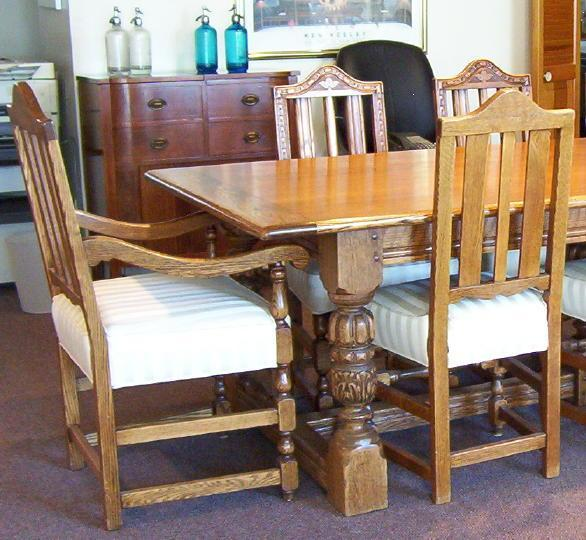 Antique Colonial Revival Oak Dining Table and Chairs Set