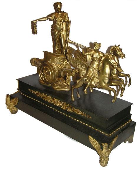 Victorious Roman Emperor Caesar on Chariot Bronze Sculpture
