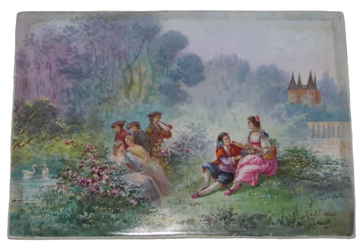 Porcelain Plaque Depicting Park du Chateau de Lareole by Carlus