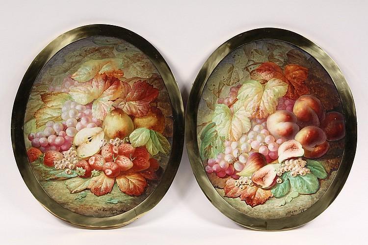 Pair Floral Still Life Paintings on Porcelain after Edmond van Coppenolle