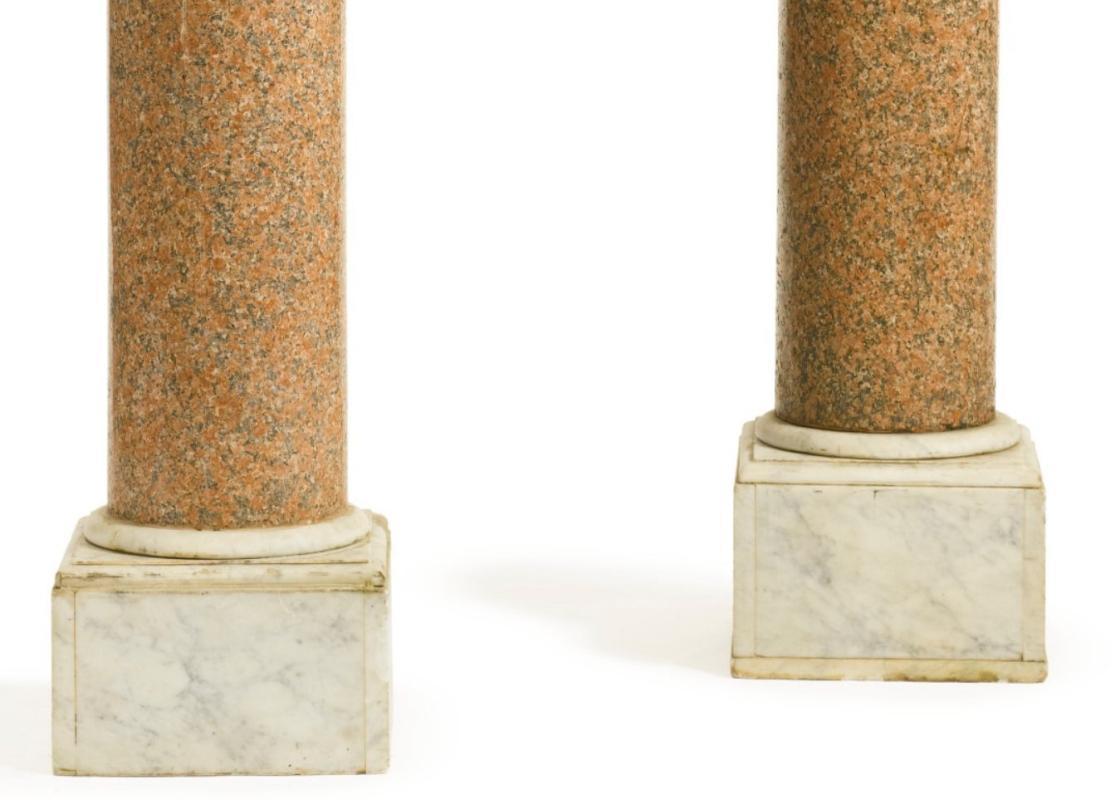 Pair Antique Pink Granite and Marble Pedestals