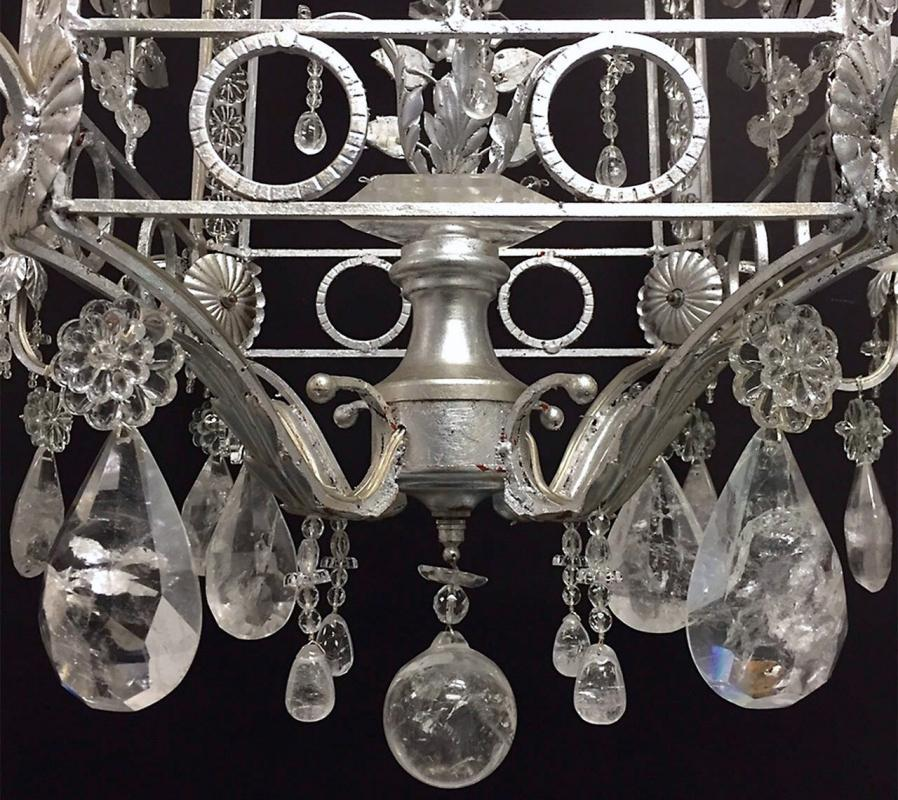 Modern Baroque Revival Silver Gilt Metal and Rock Crystal Chandelier