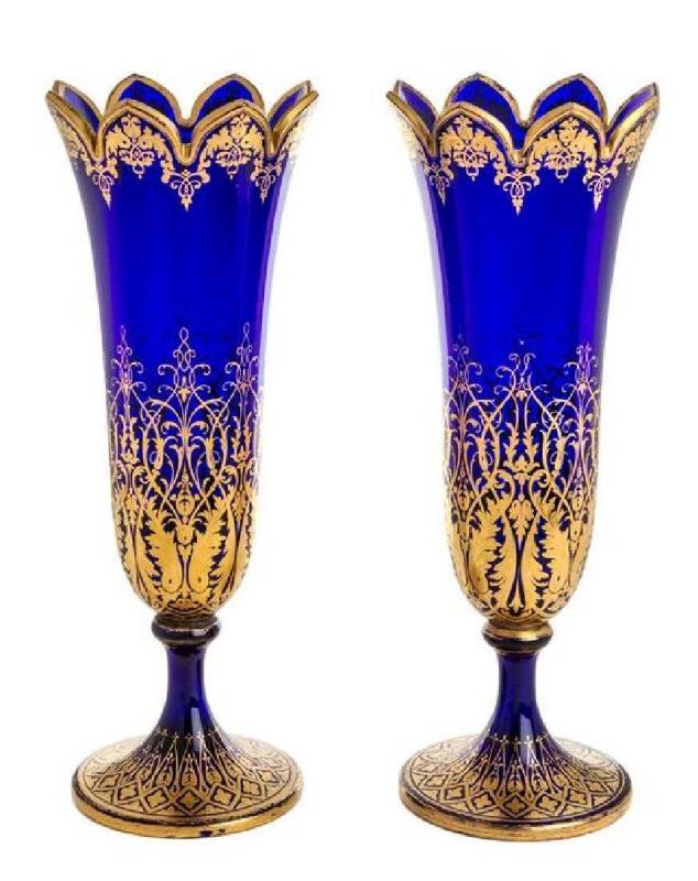 Pair Antique Parcel Gilt Cobalt Blue Glass Vases