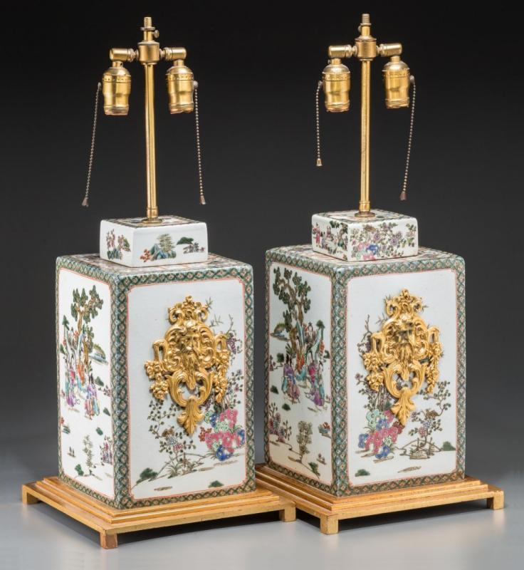 Pair Chinese Famille Verte Porcelain Table Lamps