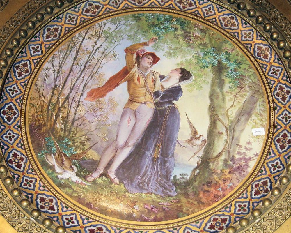 Shakespearean Romeo & Juliet Faience Charger from Creil and Montereau