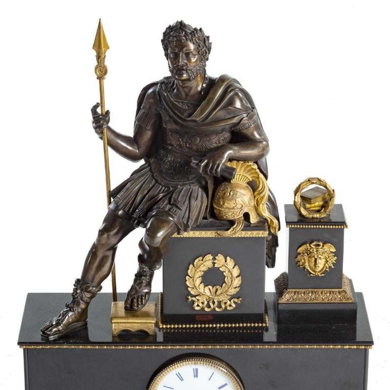 Antique Roman Neoclassical Figural Mantel Clock