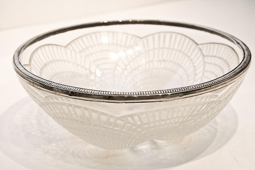 Lalique Coquilles Art Deco Silver Mounted Opalescent Glass Bowl