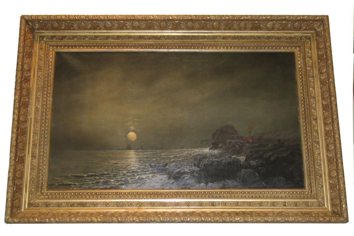 Roycrofter Alexis Jean Fournier (1865-1948) Moonlit Seascape Oil Painting