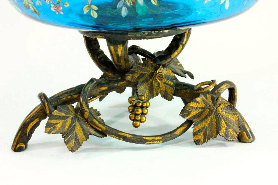 Antique Austrian Art Nouveau Bronze and Enameled Glass Epergne Attributed to Moser