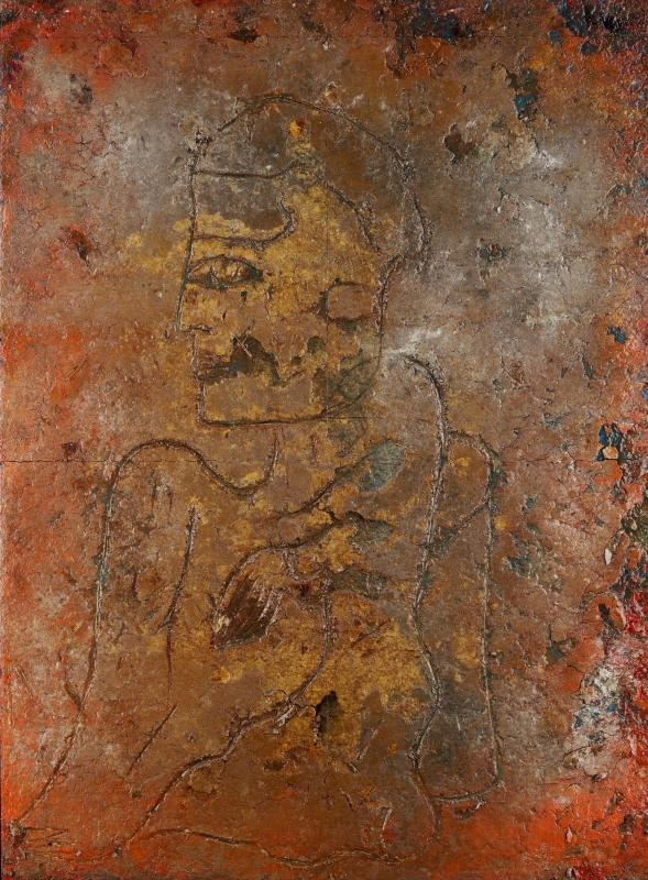 Seated Figure Fresco Tempera Painting by Jamali (1999)