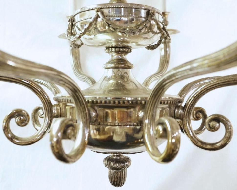 Silvered Bronze Neoclassical Chandelier