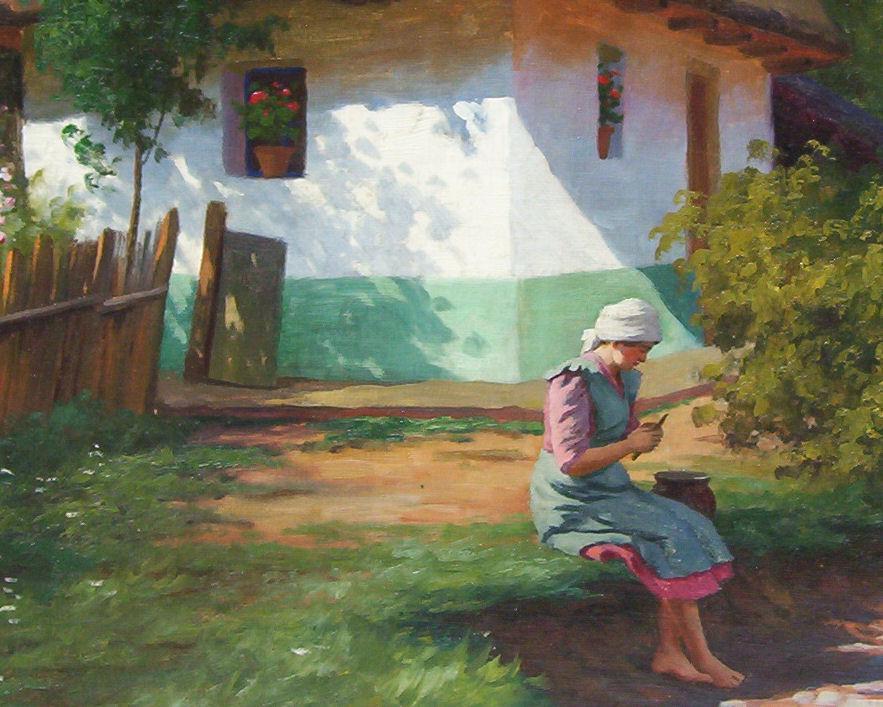 Tibor Szontagh (1873-1930) Hungarian Figural Landscape Oil Painting