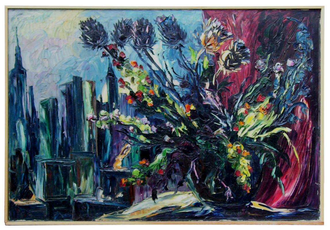 Emeric (1919-2012) Floral Still Life & Manhattan Cityscape Oil on Canvas