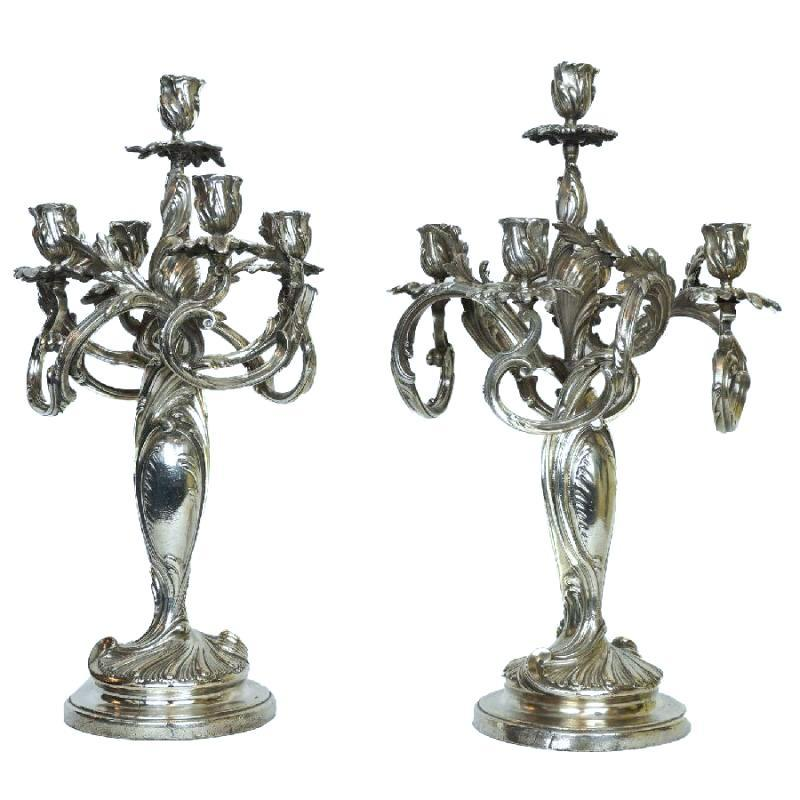 Pair Silverplated Bronze Candelabra in French Rococo Style